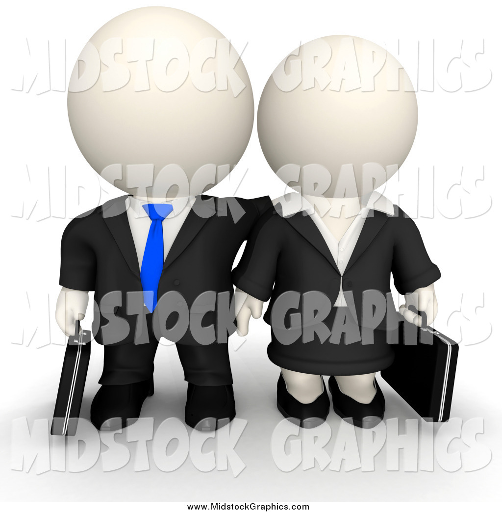 Clip Art of a 3d White Business Guy and Woman by Andresr.