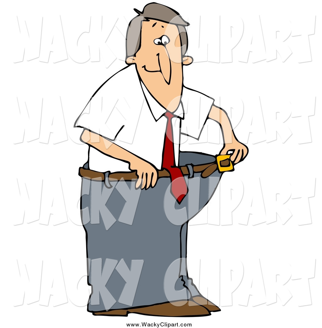 Clipart of a Skinny White Man Wearing His Fat Pants, Holding the.