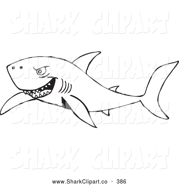 Clip Art of a Angry Black and White Shark Swimming Through the.
