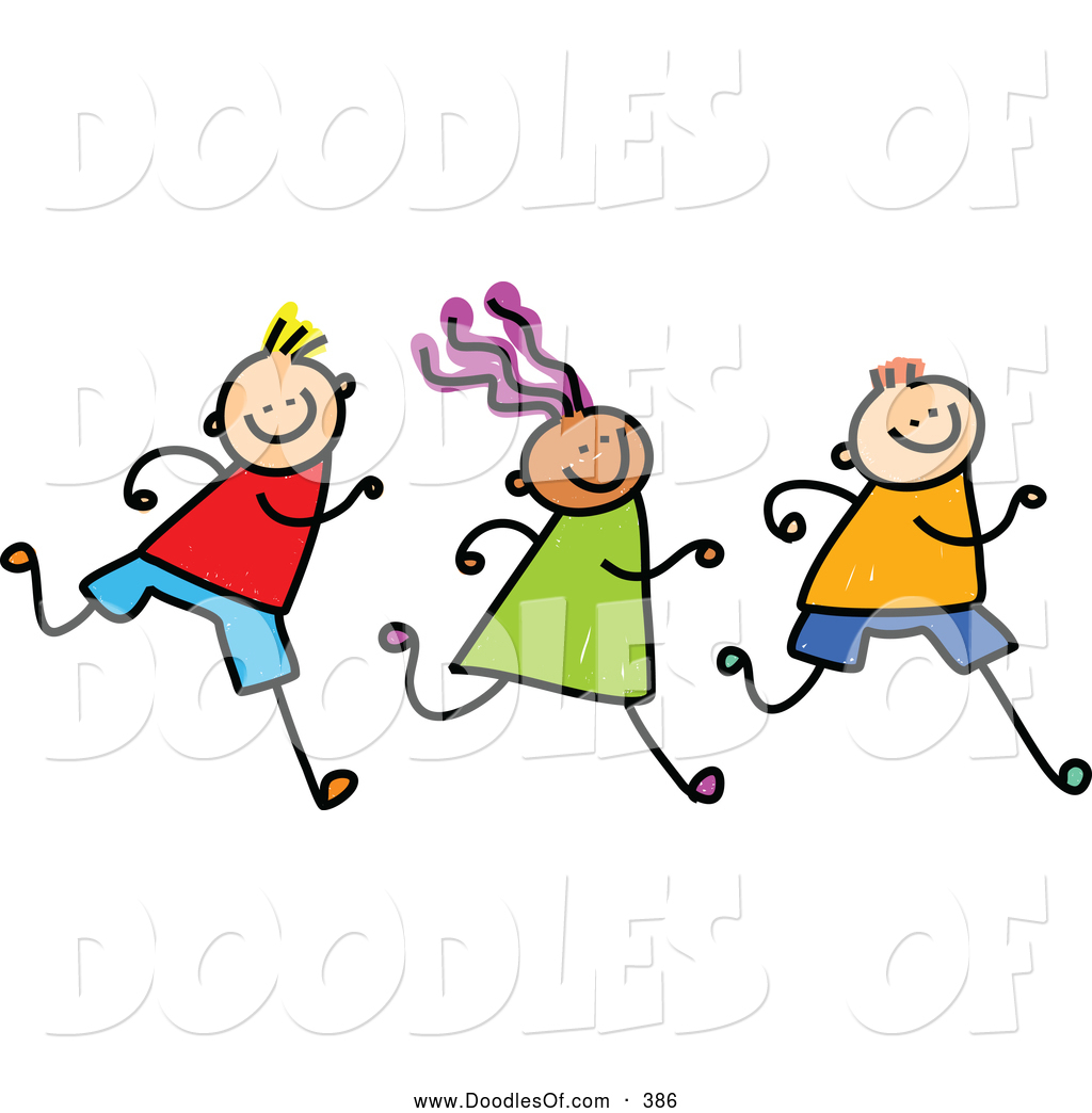 Vector Clipart of a Row of Three Running Kids on White by Prawny.