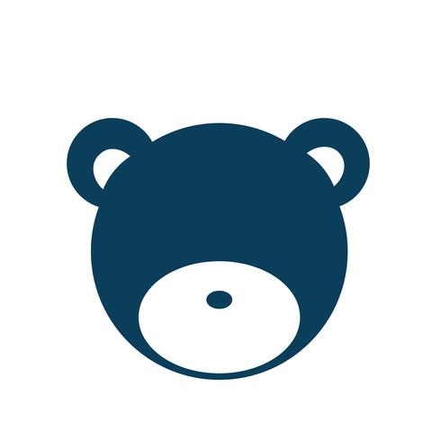 Teddy bear kid's toy icon illustration.