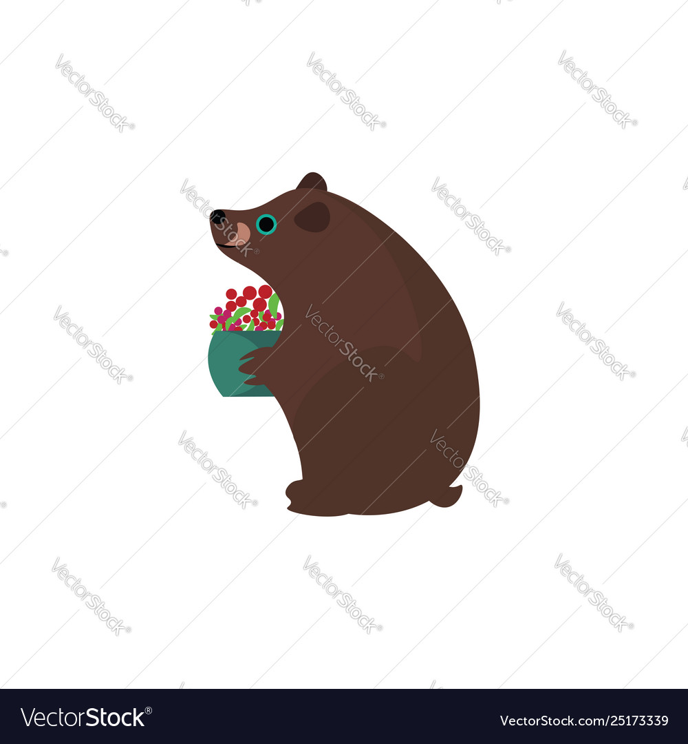Clipart a brown bear holding a fruit basket.