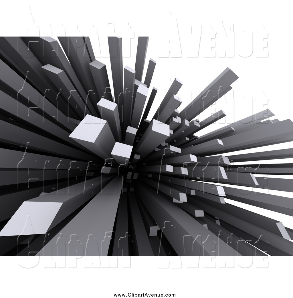 Avenue Clipart of 3d Abstract Gray Spikes, Columns or.