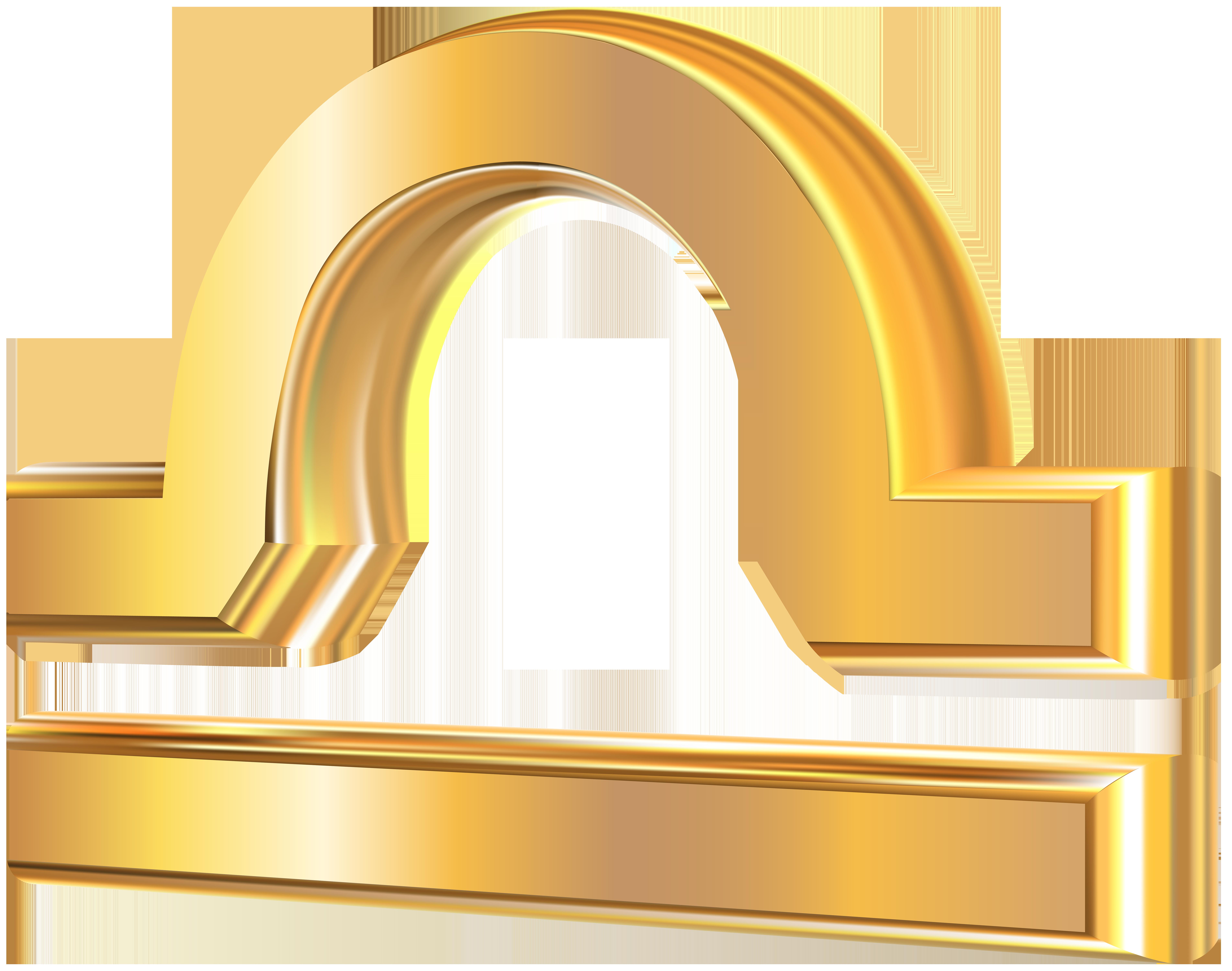 Libra 3D Gold Zodiac Sign PNG Clip Art Image.