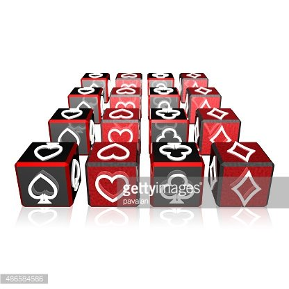 3d color cubes array with playing card suits Clipart Image.