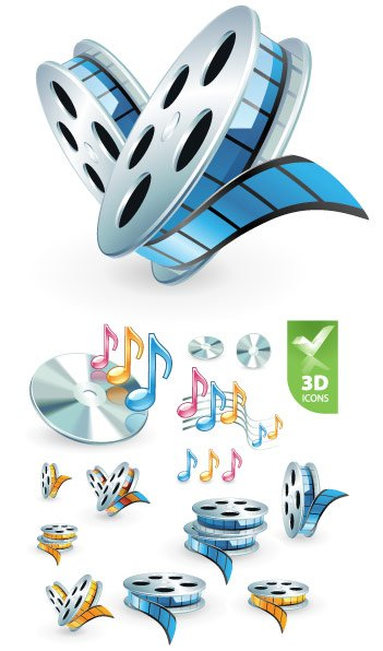 3D audio video icon Clipart Picture Free Download.