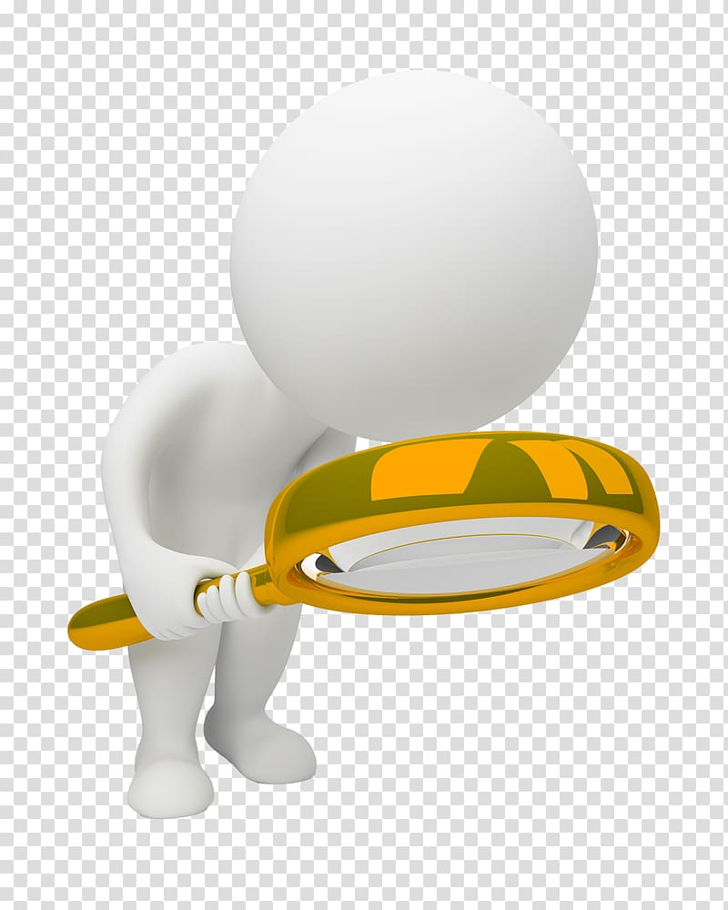 Person holding magnifying glass, 3D computer graphics.
