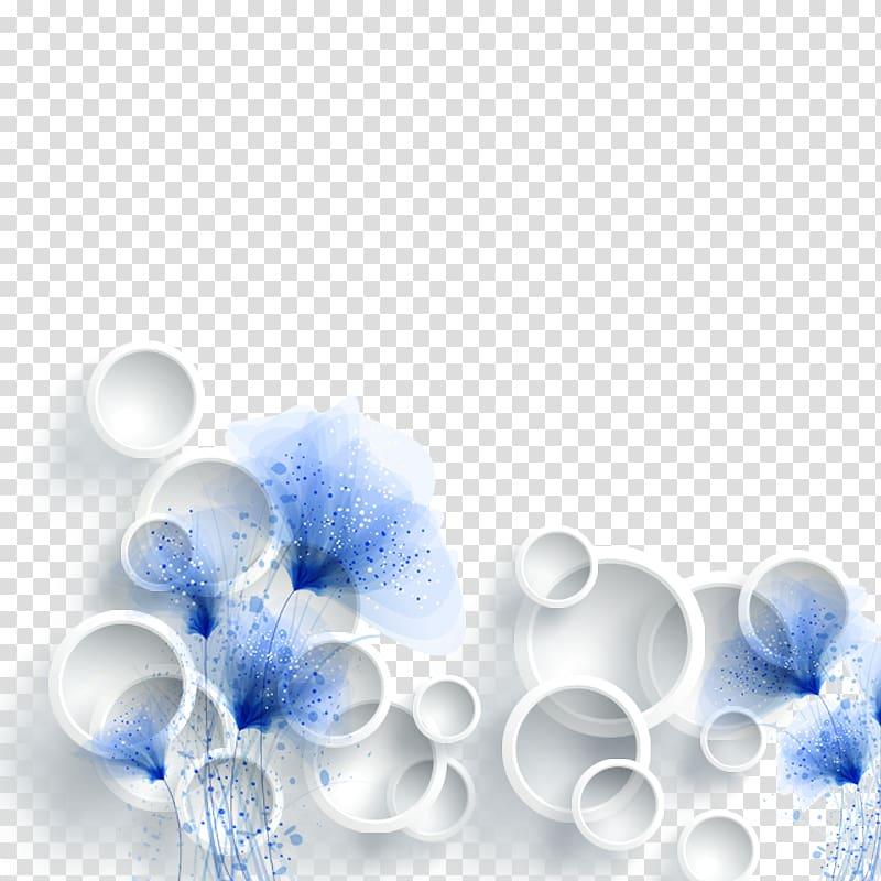 White flowers , 3D computer graphics , 3d circle TV.