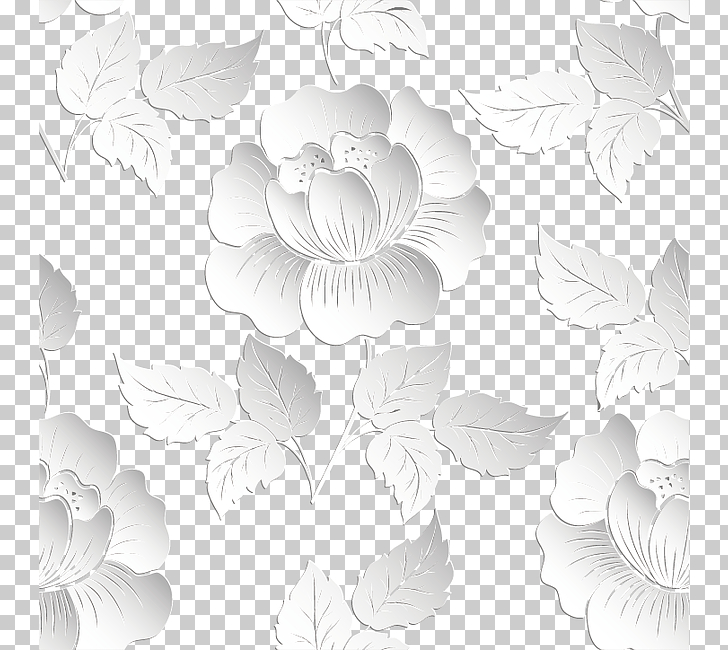 Relief Papercutting, 3d floral background, white flowers.