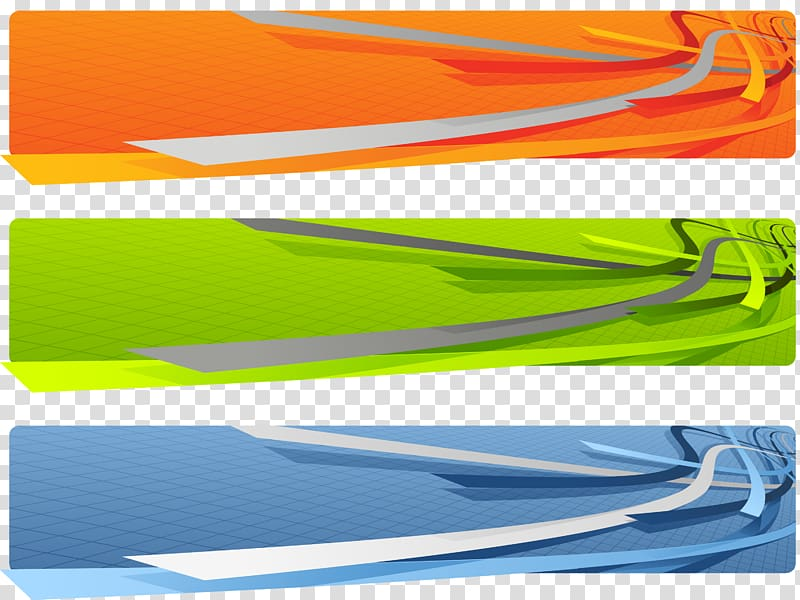 Three orange, green, and blue illustrations, Web banner 3D.