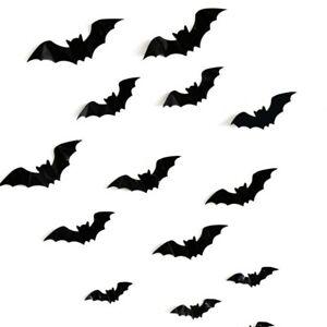 Details about 16 Pcs Halloween 3D Bats Decor PVC Window Stickers Wall Art  DIY Party Decals USA.