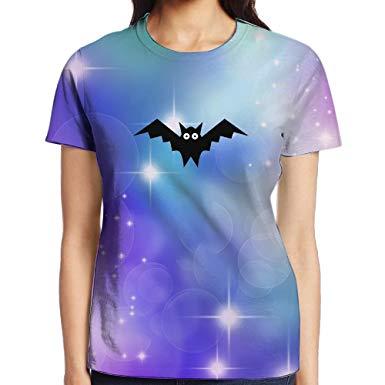 Rniom Women Cartoon Bat Clipart Causal 3D Printed Shirts.