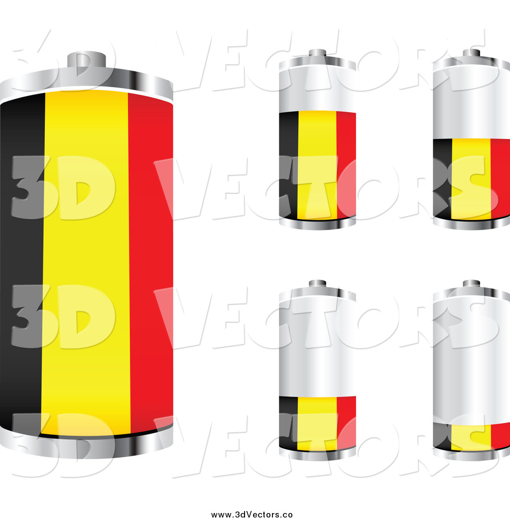 Vector Clipart of 3d Belgian Flag Batteries by Andrei.