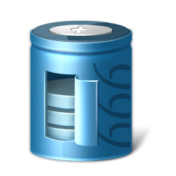 Blue 3D Battery Icon, PNG ClipArt Image.