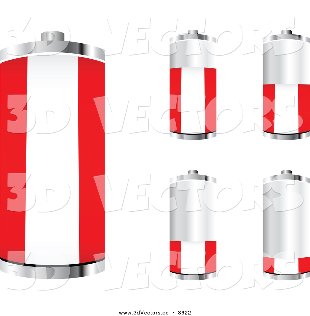 Vector Clipart of 3d Austrian Flag Batteries at Different.