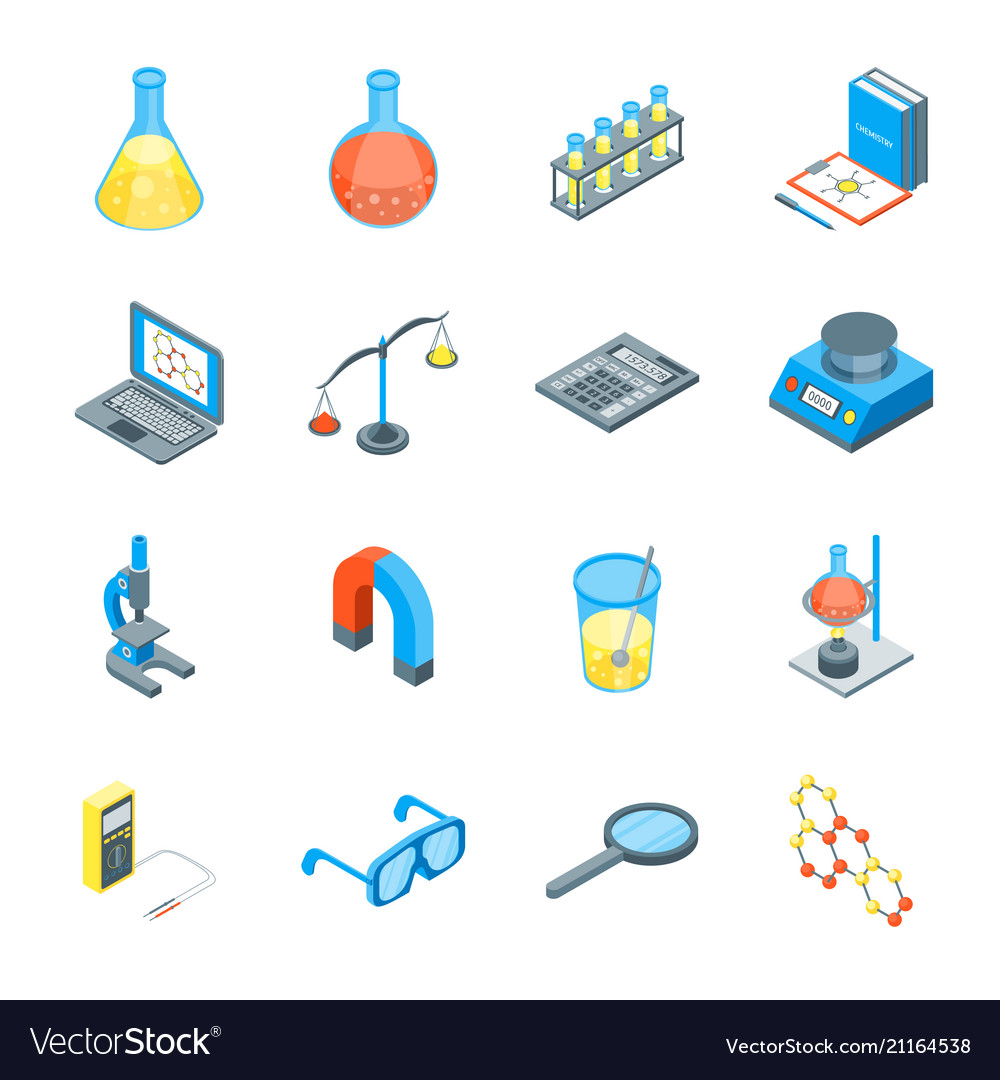Science tools and elements 3d icons set isometric.