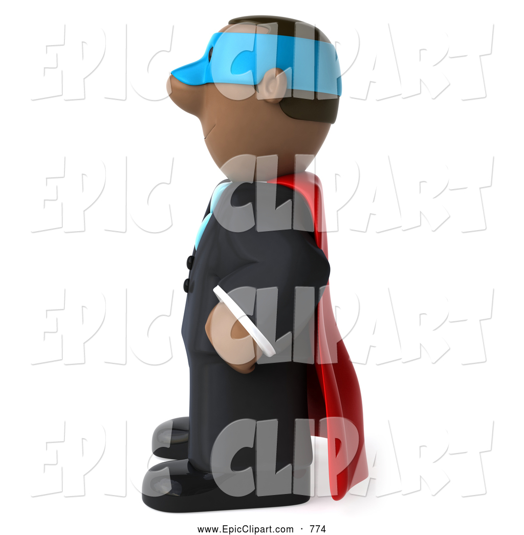 Clip Art of a Strong 3d Black Business Man Super Hero Facing.
