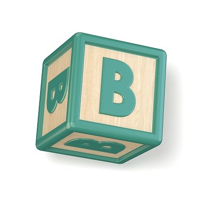 Letter B wooden alphabet blocks font rotated. 3D Clipart.
