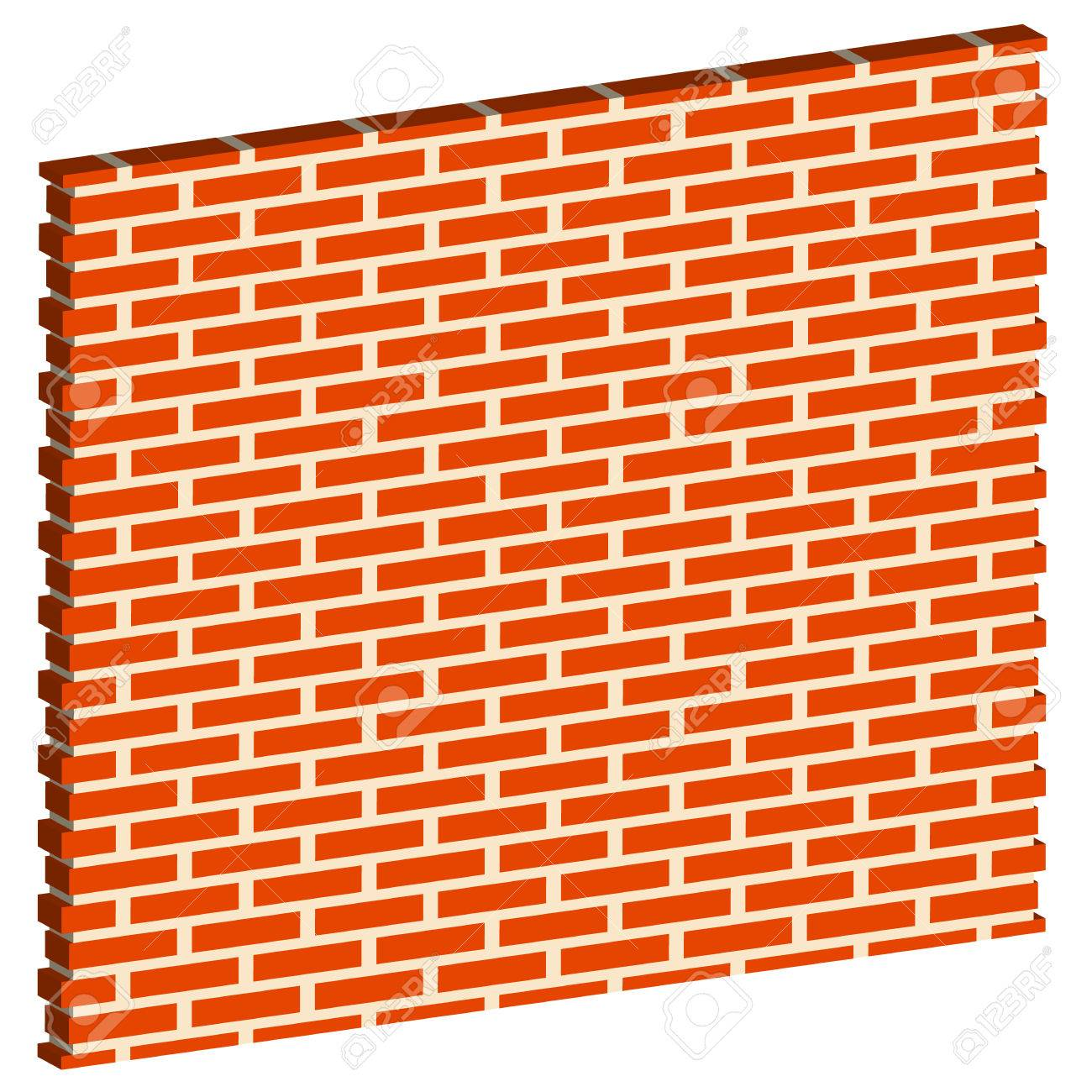 3D, Spatial Brick wall, brickwork with regular pattern isolated...