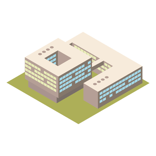 3d isometric university building.