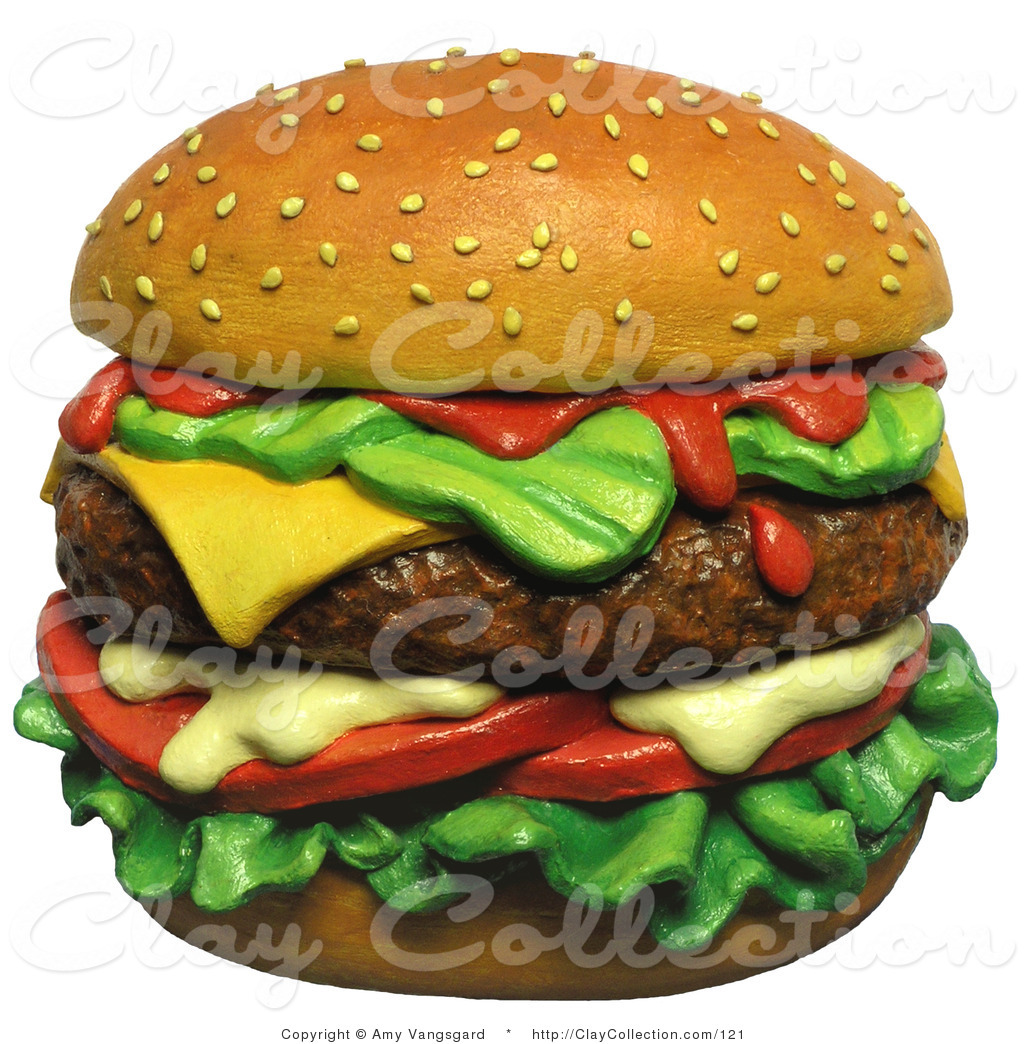 Clay Illustration of a 3d Juicy Cheeseburger on Top of a.
