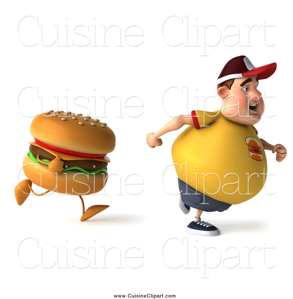Cuisine Clipart of a 3d Chubby Man Running from a.