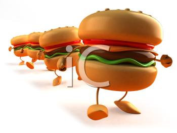 Royalty Free 3d Clipart Image of a Hamburger.