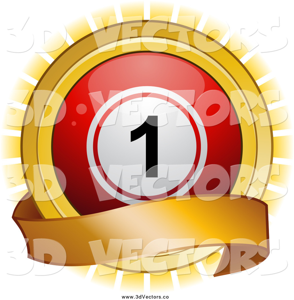 Vector Clipart of a 3d Red Bingo Ball and Gold Banner over a.