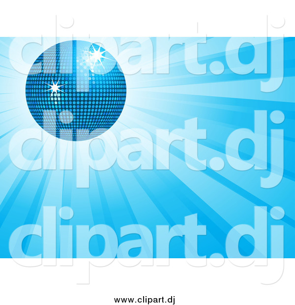 Vector Clipart of a 3d Disco Ball over a Burst of Blue Light.