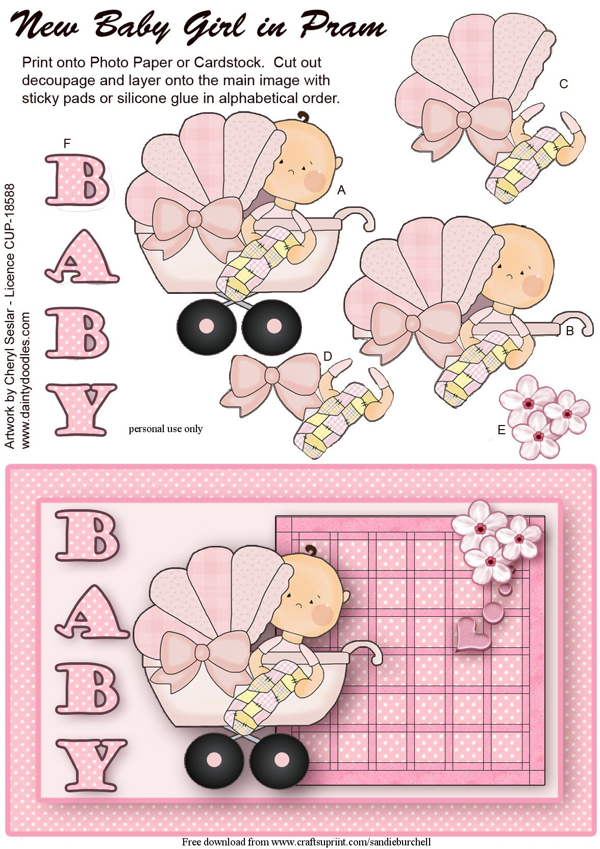 Baby 3D card topper.