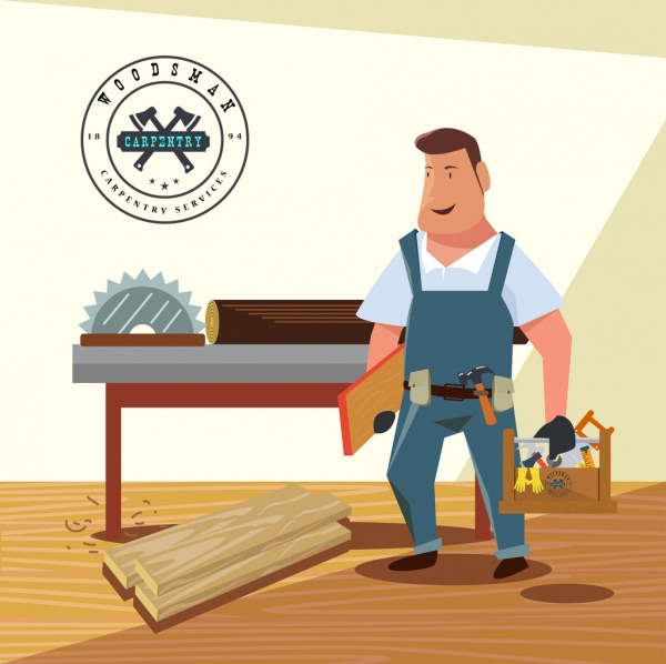 Carpentry work advertisement male icon colored 3d design.