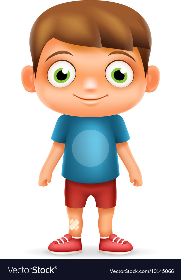 Boy Realistic 3d Child Cartoon Character Icon.