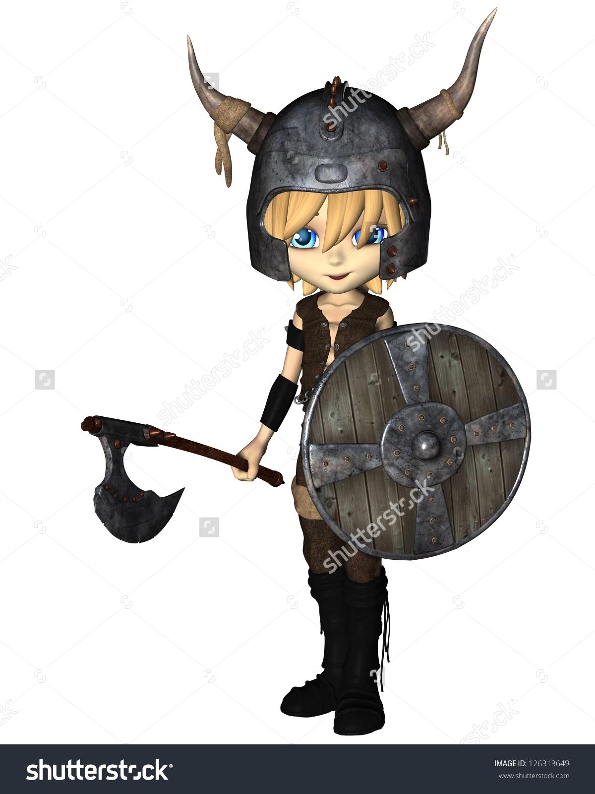 Cute Toon Style Viking Warrior Boy Stock Illustration 126313649.