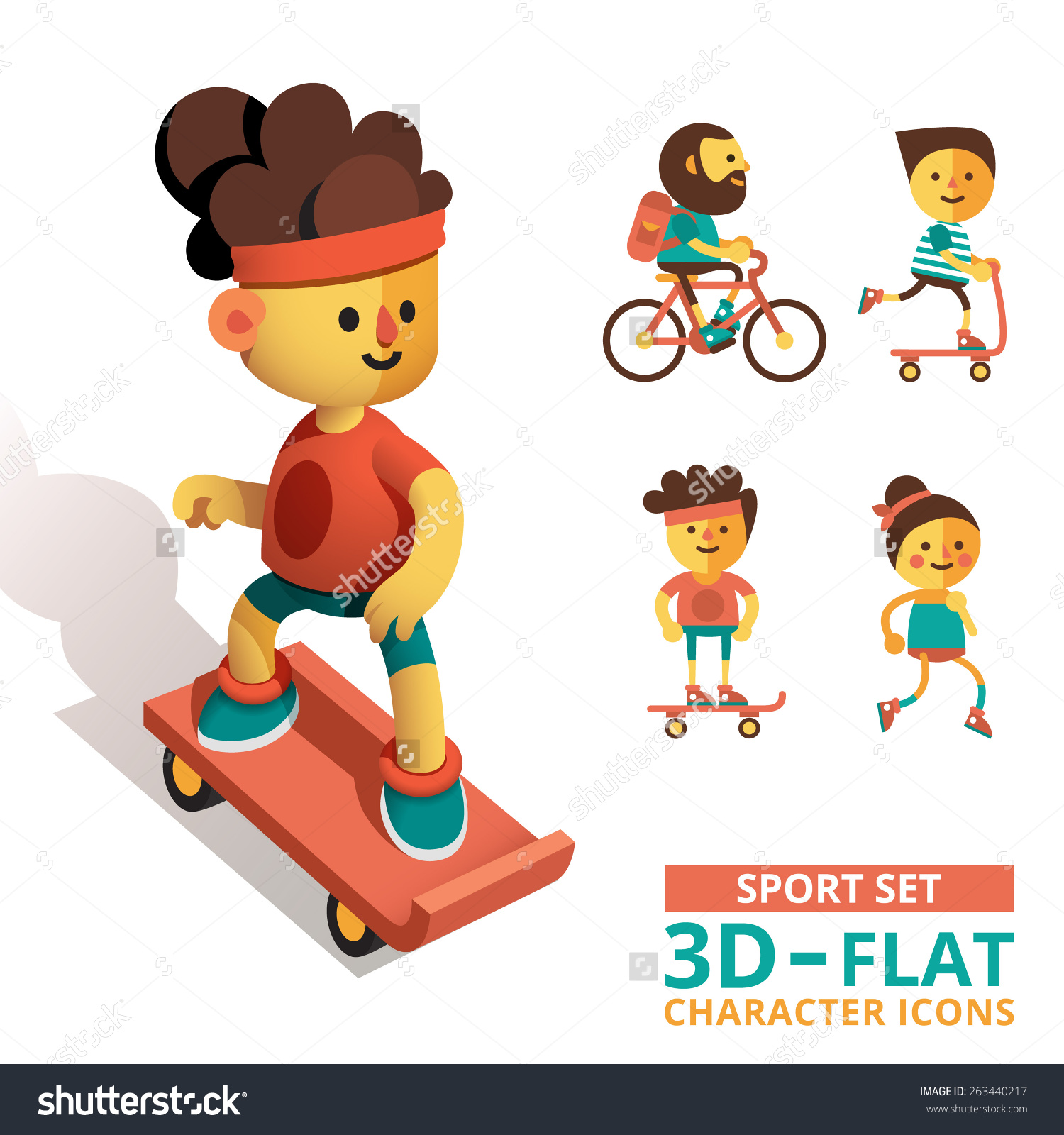 Set Characters 3d Flat Style Skateboard Stock Vector 263440217.