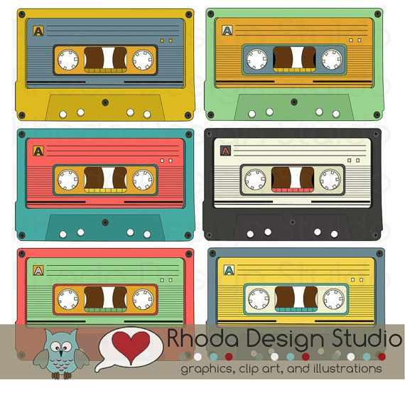 Retro Cassette Tapes Colored Images Digital Clip Art Vintage.