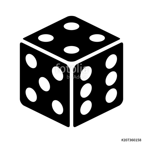 Six sided dice / die for casino gambling line art vector.