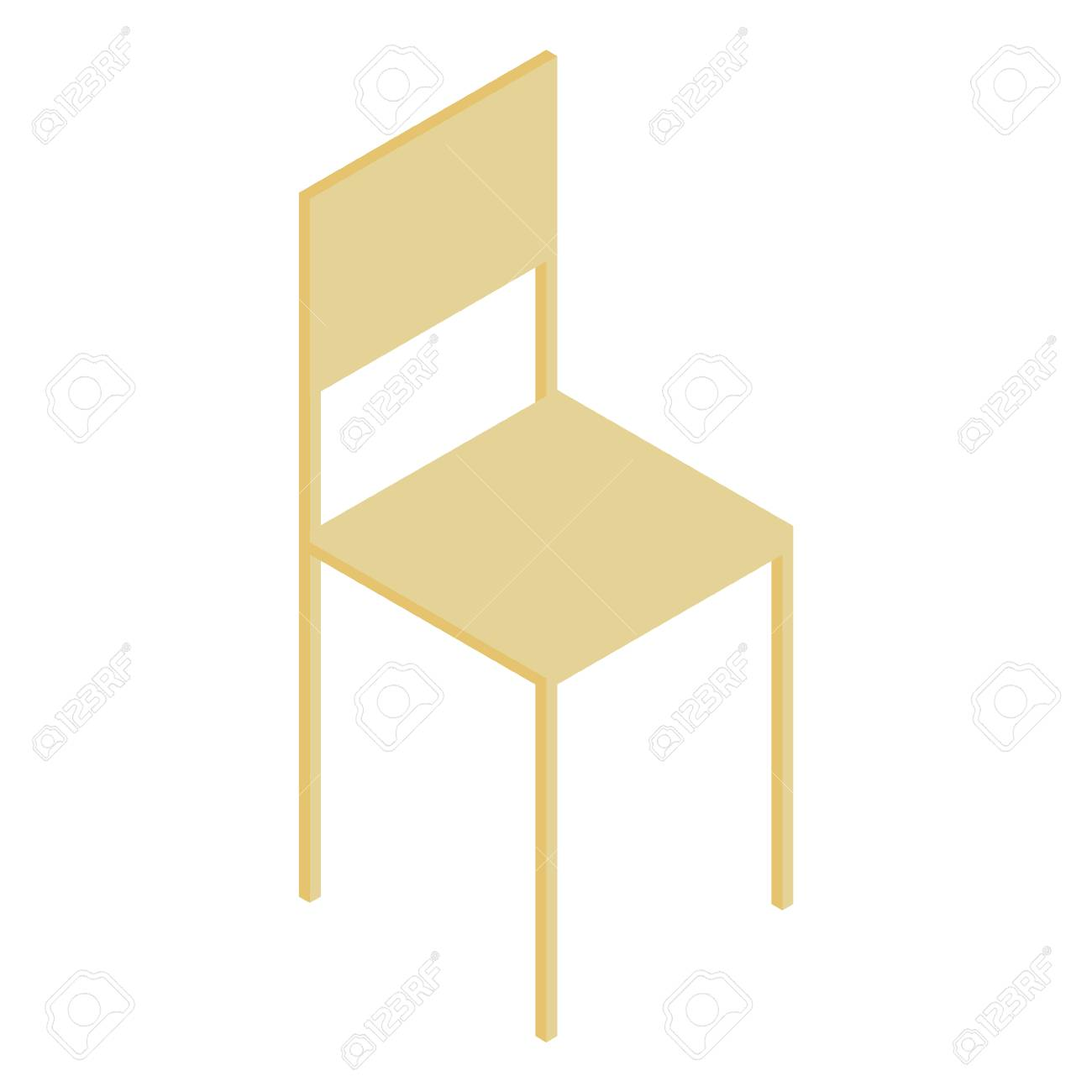 Vector illustration 3d isometric perspective wooden room chair...