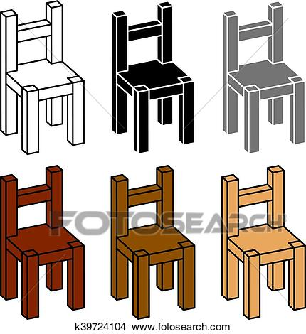 3D simple wooden chair black symbol Clipart.