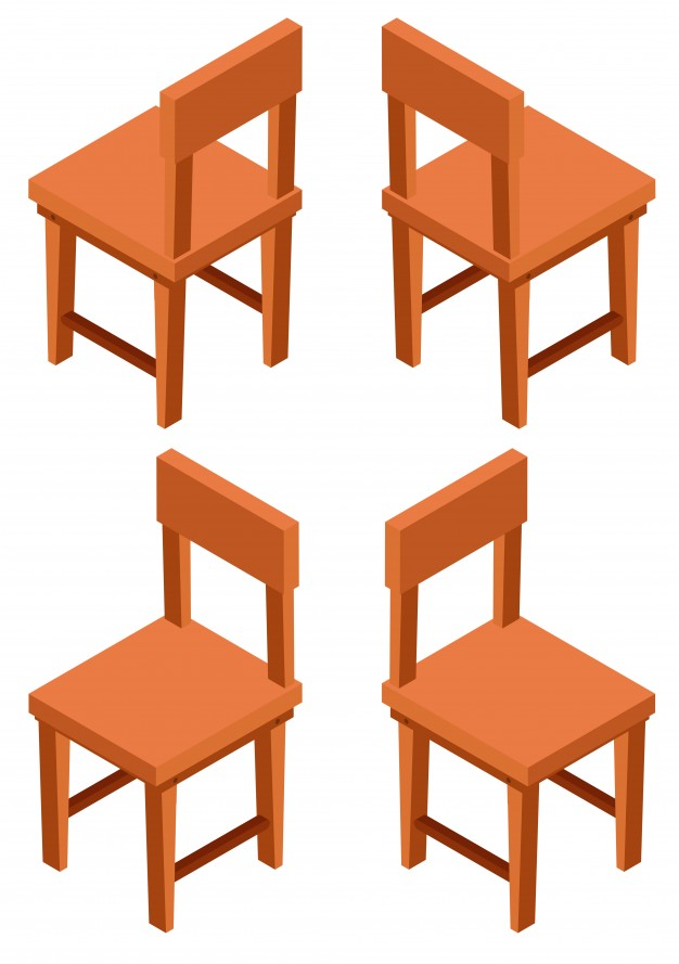 3d design for wooden chairs Vector.