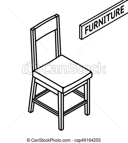 Isometric outline furniture. 3D line drawn isometric chair. white  background..