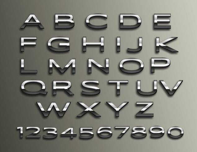 Vector Chrome 3d Alphabet.