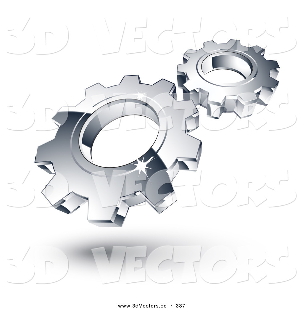 3d Vector Clipart of Two New Chrome Gears Spinning in Sync.