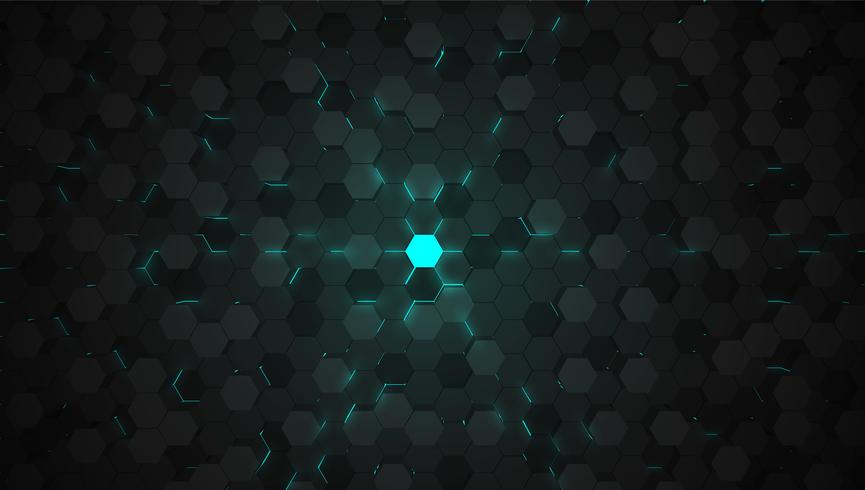 Blue 3D hexagon tech background, vector illustration.