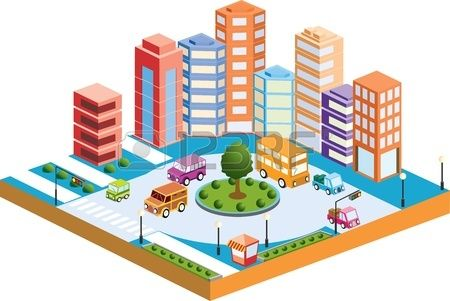 3D City With Transport And Buildings Royalty Free Cliparts.