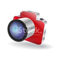 3d Glossy Camera Vector Icon Stock Vector.