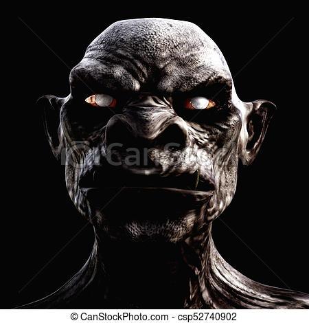 Digital 3D Illustration of a creepy Creature.