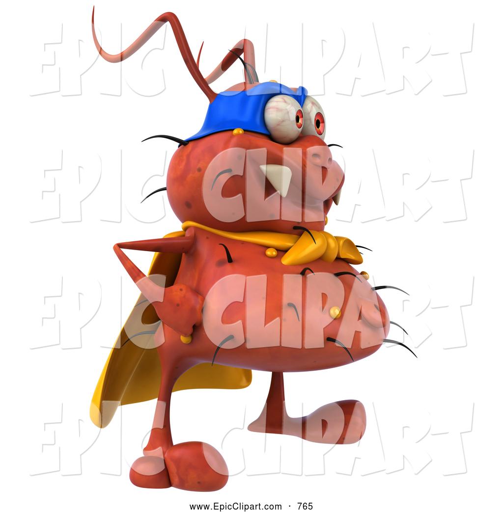 Vector Clip Art of a Creepy 3d Rodney Germ Character Super.
