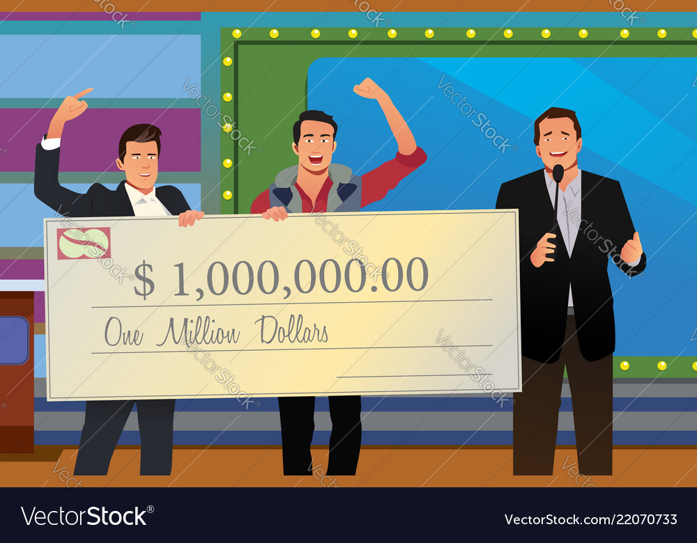 Game show winner receiving check.