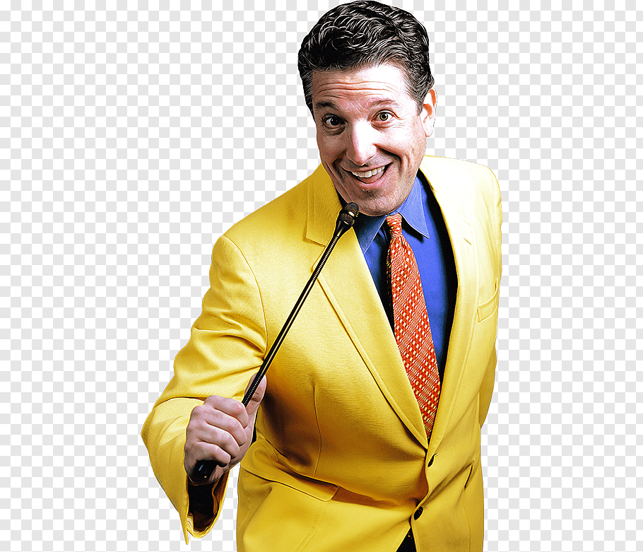 Man in yellow formal suit jacket holding microphone, Game.