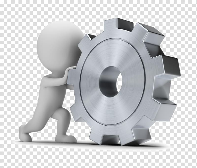 Person pushing cog illustration, Gear 3D computer graphics.